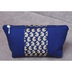 Косметичка Слоники, ткань - хлопок + лен, изделие ручной работы