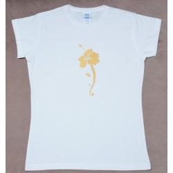 Женкая футболка с ручной росписью Шри Ганеша и Цветок Гибискуса