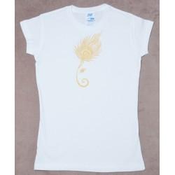 Женкая футболка с ручной росписью Шри Ганеша и Перо Павлина