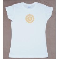 Женкая футболка с ручной росписью Омкара (Ом)