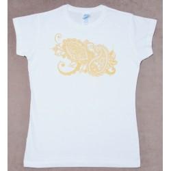 Женкая футболка с ручной росписью Орнамент Индийские Огурци