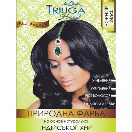 Краска Чёрная для волос на основе натуральной хны Триюга-ОМ, Triuga Herbal 25 грамм