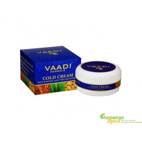 Крем с Миндальным маслом, Алоэ Вера и Шафраном 30г., Vaadi Herbals Herbals Cold Cream with Almond Oil & Aloe Vera