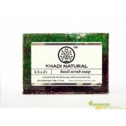 Мыло-скраб Кхади Базилик, Khadi Natural Basil Herbal Scrub-Soap