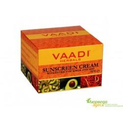 Крем для лица и тела солнцезащитный SPF-25 с экстрактами Киви и Авокадо, Vaadi Herbals Sunscreen Cream Kiwi & Avocado SPF 25
