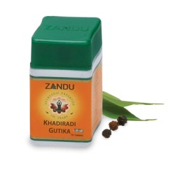 Кхадиради Гутика, Занду, Khadiradi Gutika, Zandu, при воспалениях горла и ротовой полости.