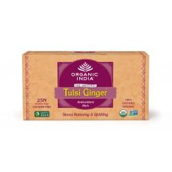 Чай органический Тулси, Базилик - Имбирь 25 пак., слим-пакет, Tulsi-Ginger, Organic India