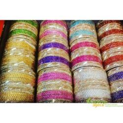 Браслет набор с блеском, 24 шт. Shree Parshavnath 7 см., цвет в ассортименте