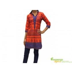 Пенджаби-туника, красная с вышивкой, к.150, УТ-00001296