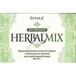 Аюрведическое мыло 24 лечебных растения с Кокосовым маслом, Ayurvedic Soap 24 Herbs, Synaa Herbal Mix