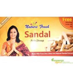 Благовоние безосновное Sandal Dhoop, спички в подарок (20/УП)