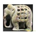 Слоник каменный резной двойной (полый)