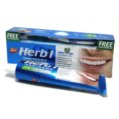 Зубная паста для курильщиков Дабур, Dabur Herb'l Smokers 150грамм в комплекте с зубной щеткой
