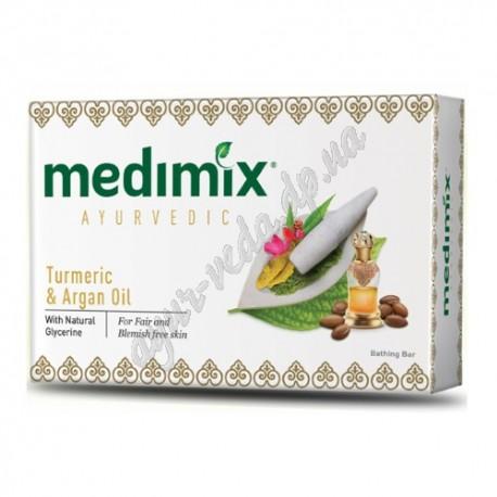 Аюрведическое мыло Медимикс Куркума и Аргановое масло, 75 г., Medimix ayurvedic soap Turmeric & Argan Oil, Cholayil Ltd, Аюрведа