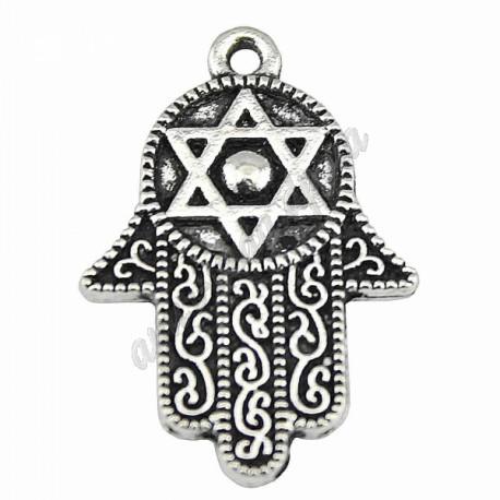 Кулон серебристый Рука двусторонняя со звездой Давида 1,9х2,8 см, Аюрведа