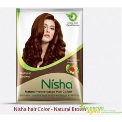 Хна для волос коричневая Ниша, ТМ Nisha 30 г., Аюрведа