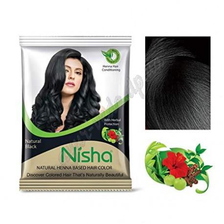 Фарба для волосся на основі хни Ниша 25 г чорна, Nisha Natural Henna Black Color, Аюрведа