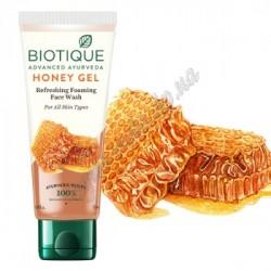 Гель-пенка для умывания Био Мед для лица освежающая, Biotique Honey Gel Refreshing Foaming Face Cleanser.
